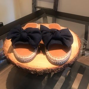 Universal Thread Navy Blue Bow Espadrille Slides